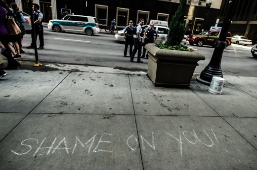 Sidewalk outside of CPS Headquarters (Chicago, 5/22/13) - photo by Sarah Jane Rhee