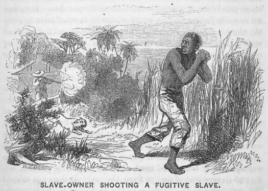 Slave-owner shooting a fugitive slave. (1853) - Creator: Mason, Walter George, 1820-1866 -- Engraver - Source: Five hundred thousand strokes for freedom ; a series of anti-slavery tracts, of which half a million are now first issued by the friends of the Negro.