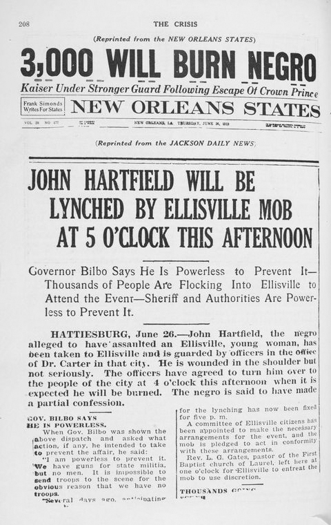 Lynching announcements. (June 26, 1919) - NYPL Digital Collection - Source: The Crisis. / 1919-1921