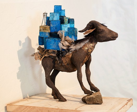 Azazel (Scapegoat) with Ir Miklat (City of Refuge), 2013, clay, goat fur, sequins, trash.