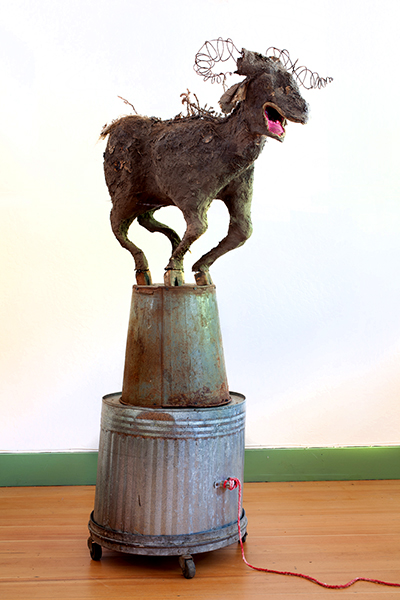 Azazel (Scapegoat) with digestive tract, 2011.  People are asked to write down a serious transgression they have committed and insert it into the goat. Then they pull a question about transformative justice from the mouth of the goat.