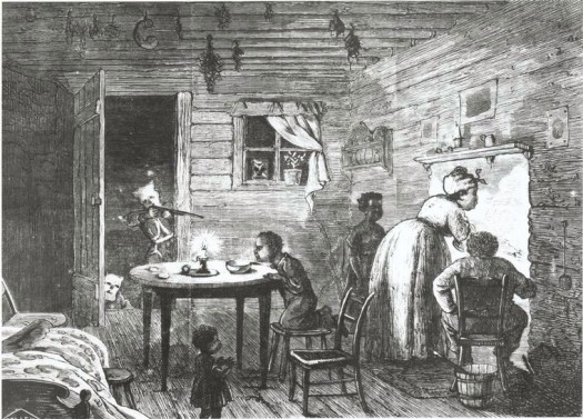 Visit of the Ku-Klux; A drawing by Frank Bellew in Harper's Weekly,(February 24 , 1872)