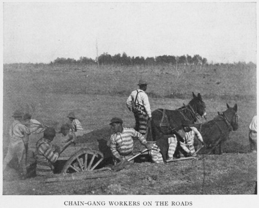 Chain - gang workers on the roads. (1908) Source: Following the color line; an account of Negro citizenship in the American democracy, by Ray Stannard Baker.