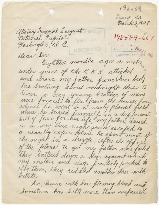 Letter from Rampy J. Burdick to Attorney General John G. Sargeant Detailing the Violence Committed by the Ku Klux Klan against His Family, 03/03/1928