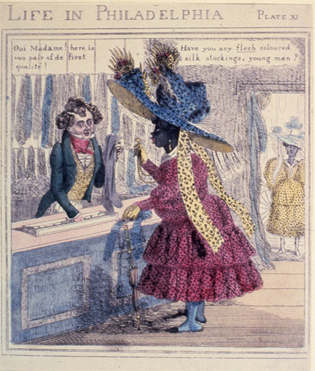"Edward Clay - Life in Philadelphia Series (1828) - Source: Library Company of Philadelphia Caption: ""Have you any flesh coloured silk stockings, young man? Oui Madame! here is von pair of de first qualite!"""