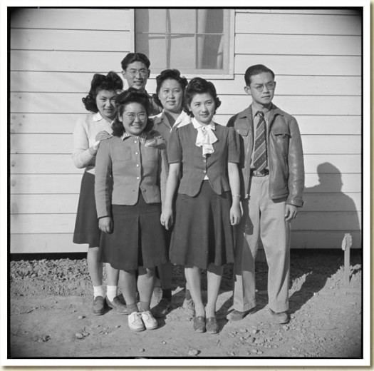 Photograph, George Fujii (on right) at Poston, Arizona, January 4, 1943 Central Photographic File of the War Relocation Authority National Archives, Records of the War Relocation Authority, Record Group 210 (National Archives Identifier 536627)