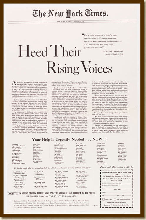 "Advertisement, ""Heed Their Rising Voices,"" New York Times, March 29, 1960 National Archives-Atlanta, Records of District Courts of the United States (National Archives Identifier 2641477)"