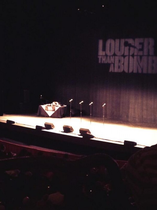 Louder than A Bomb stage as JTDC youth audio played (3/15/14)