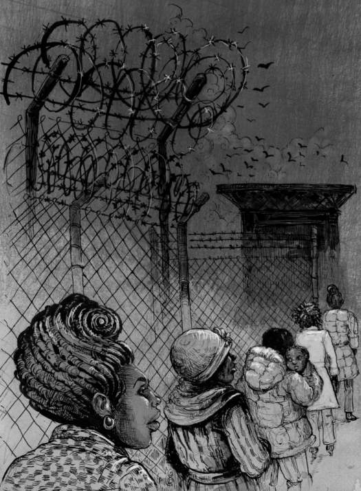 Illustration for The Divide. by Molly Crabapple Women waiting to visit their loved ones at Rikers. Based on sketches done from life.