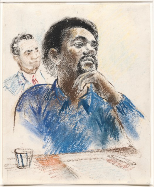 [Drawing for CBS Evening News of Bobby G. Seale with Arnold Markle, State Attorney for the Judicial District of New Haven, in the back ground] From: Robert Templeton Drawings and sketches related to the trial of Bobby Seale and Ericka Huggins, New Haven, Connecticut (1971)