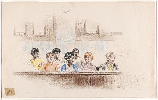 From: Robert Templeton Drawings and sketches related to the trial of Bobby Seale and Ericka Huggins, New Haven, Connecticut (1971)