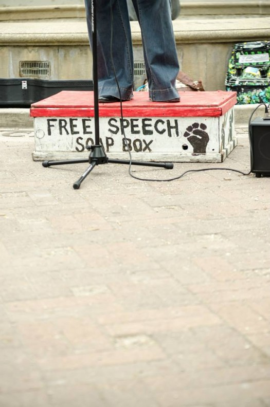 Me on a soapbox (photo by Sarah Jane Rhee, 6/7/14)