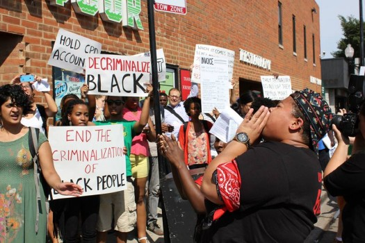 BYP 100 Decriminalizing Black CPD Action (photo by Kelly Hayes, 8/26/14)