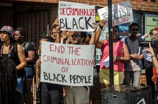 BYP 100 Decriminalizing Black CPD Action (photo by Sarah Jane Rhee, 8/26/14)