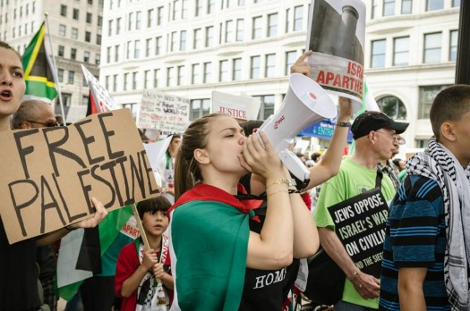 Chicago March Against World Silence on Gaza Massacre (photo by Sarah Jane Rhee, 8/10/14)