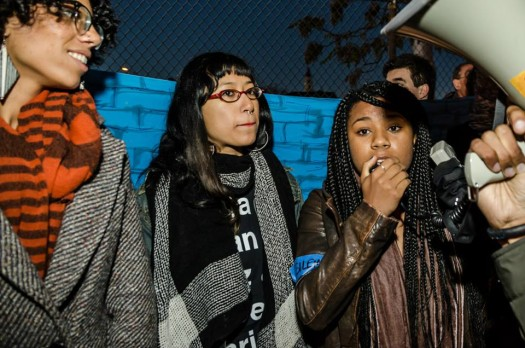 Members of the youth delegation to UN speaking at protest (photo by Sarah Jane Rhee, 10/22/14)