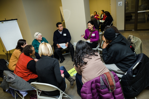 Lookman leading a peace circle last month (photo by Sarah Jane Rhee)