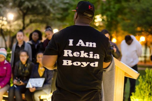 Martinez Sutton at a Vigil for Rekia at Depaul (5/12/15) - photo by Sarah Jane Rhee